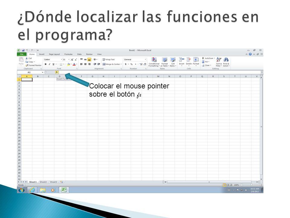 Una vez entremos a INSERT FUNCTION, entonces buscar la función por categorías ó por las más recientemente utilizadas.