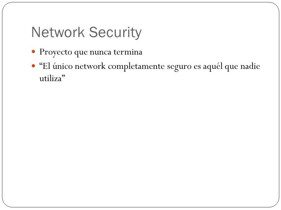 Network Security Proyecto que nunca termina El único network completamente seguro es aquél que nadie utiliza
