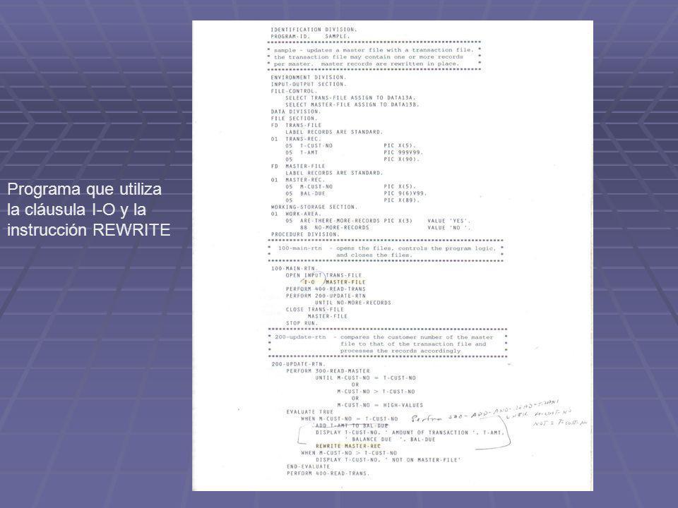 Programa que utiliza la cláusula I-O y la instrucción REWRITE