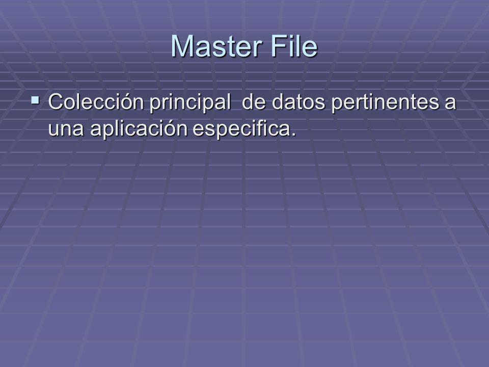 Master File Colección principal de datos pertinentes a una aplicación especifica. Colección principal de datos pertinentes a una aplicación especifica
