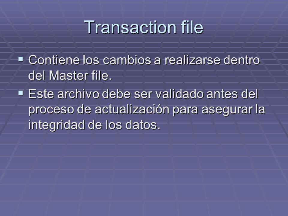 Transaction file Contiene los cambios a realizarse dentro del Master file. Contiene los cambios a realizarse dentro del Master file. Este archivo debe