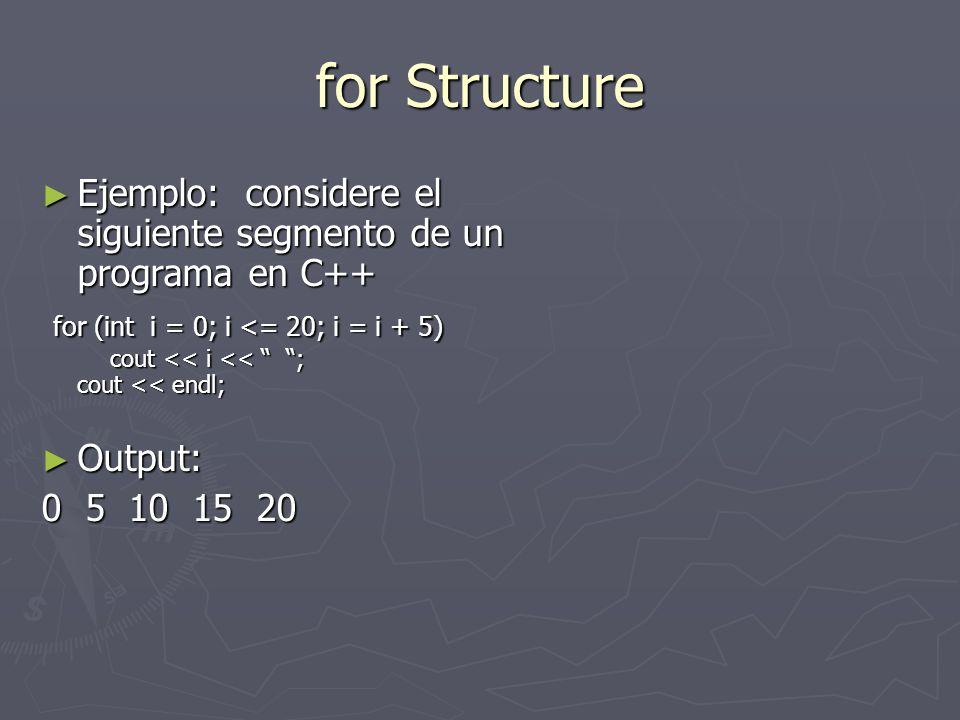 for Structure Ejemplo: considere el siguiente segmento de un programa en C++ Ejemplo: considere el siguiente segmento de un programa en C++ for (int i