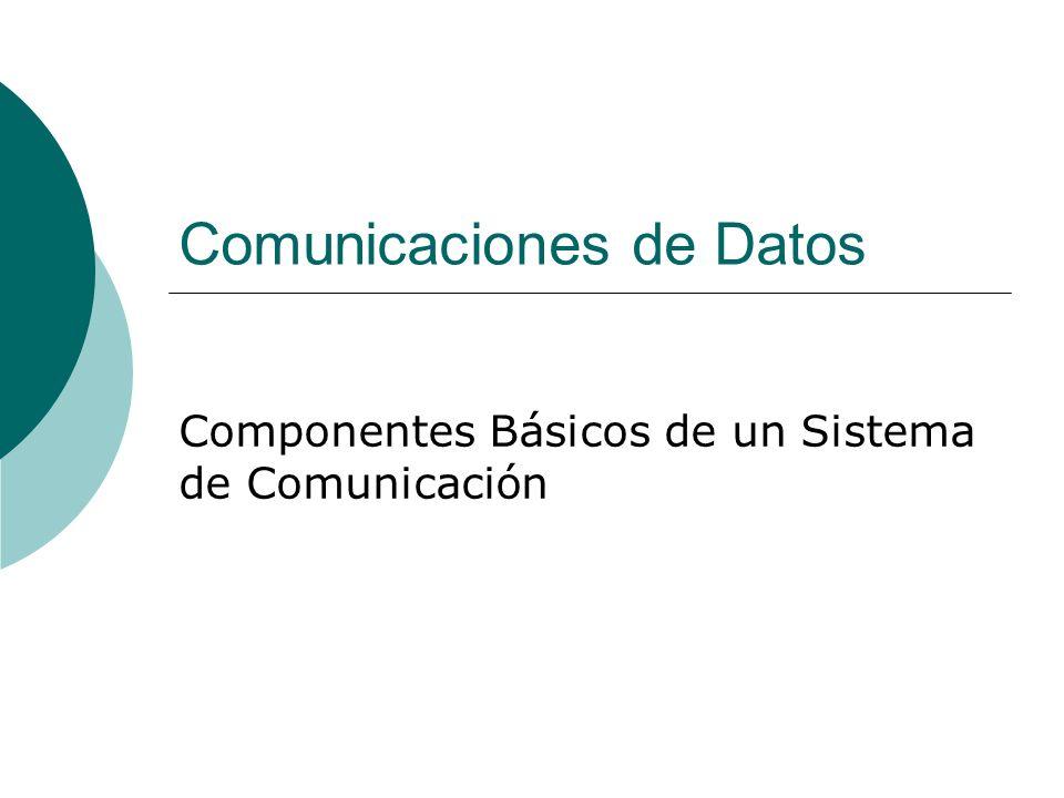 Un sistema de comunicaciones está compuesto de tres componentes físicos y de un componente de software Componentes Físicos Sender Medium Receiver Componentes de Software Protocolos