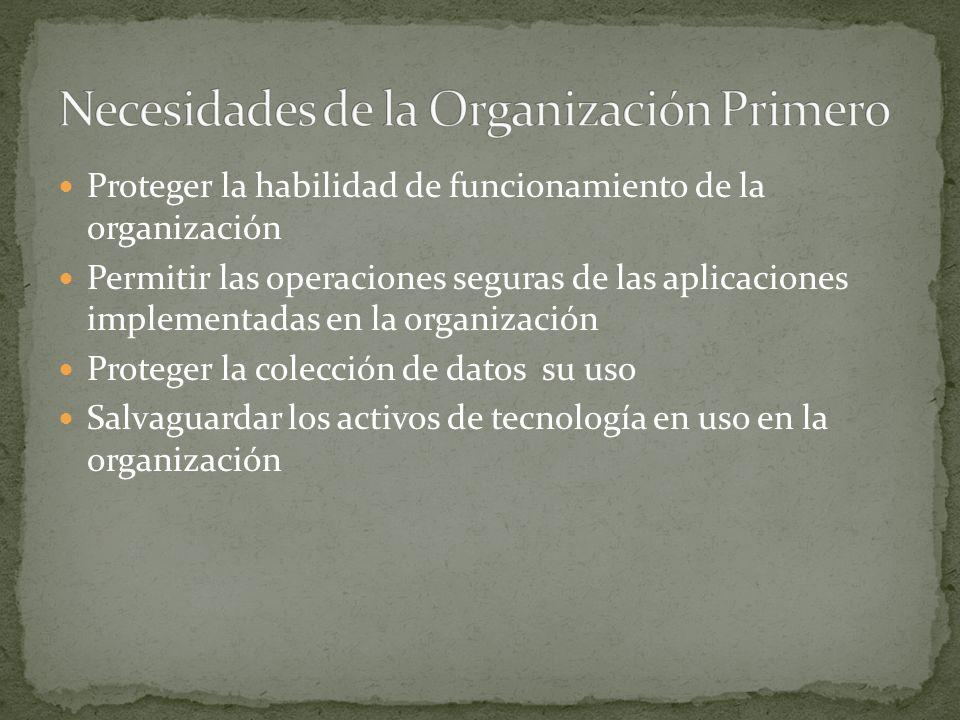 Proteger la habilidad de funcionamiento de la organización Permitir las operaciones seguras de las aplicaciones implementadas en la organización Proteger la colección de datos su uso Salvaguardar los activos de tecnología en uso en la organización