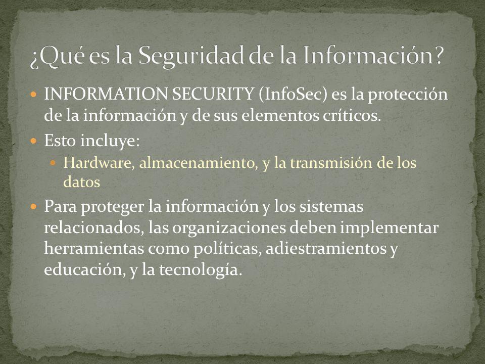 INFORMATION SECURITY (InfoSec) es la protección de la información y de sus elementos críticos.