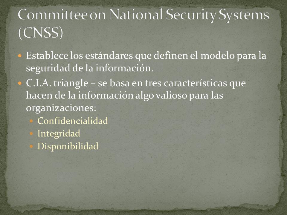 Establece los estándares que definen el modelo para la seguridad de la información.