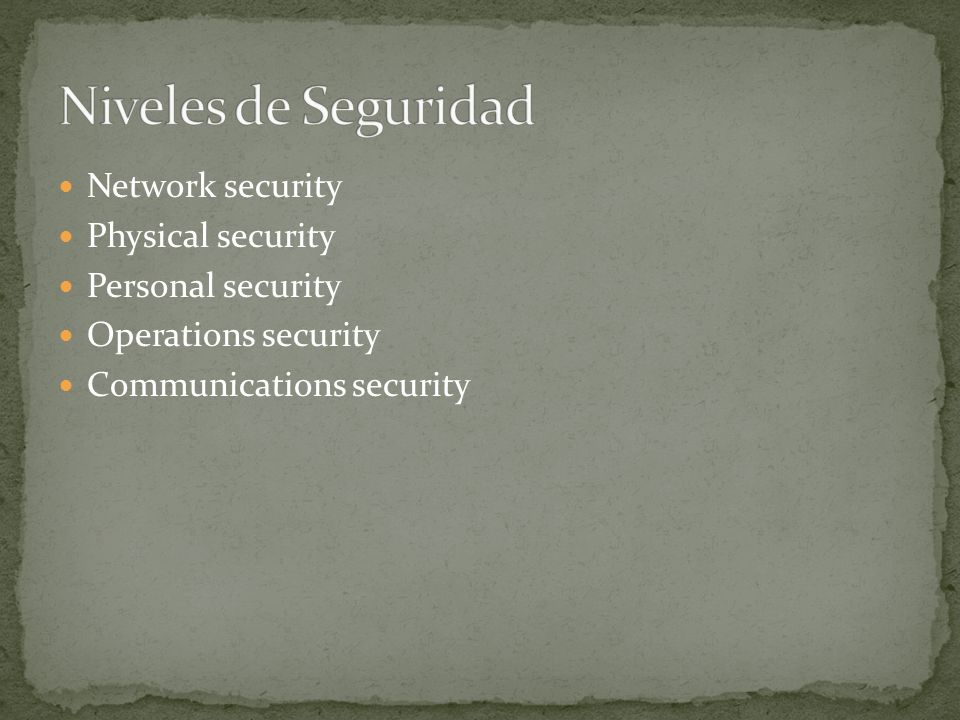 Network security Physical security Personal security Operations security Communications security