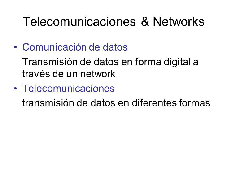 Telecomunicaciones & Networks Comunicación de datos Transmisión de datos en forma digital a través de un network Telecomunicaciones transmisión de dat