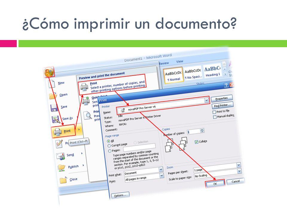 ¿Cómo imprimir un documento?