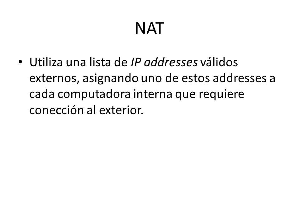 NAT Utiliza una lista de IP addresses válidos externos, asignando uno de estos addresses a cada computadora interna que requiere conección al exterior