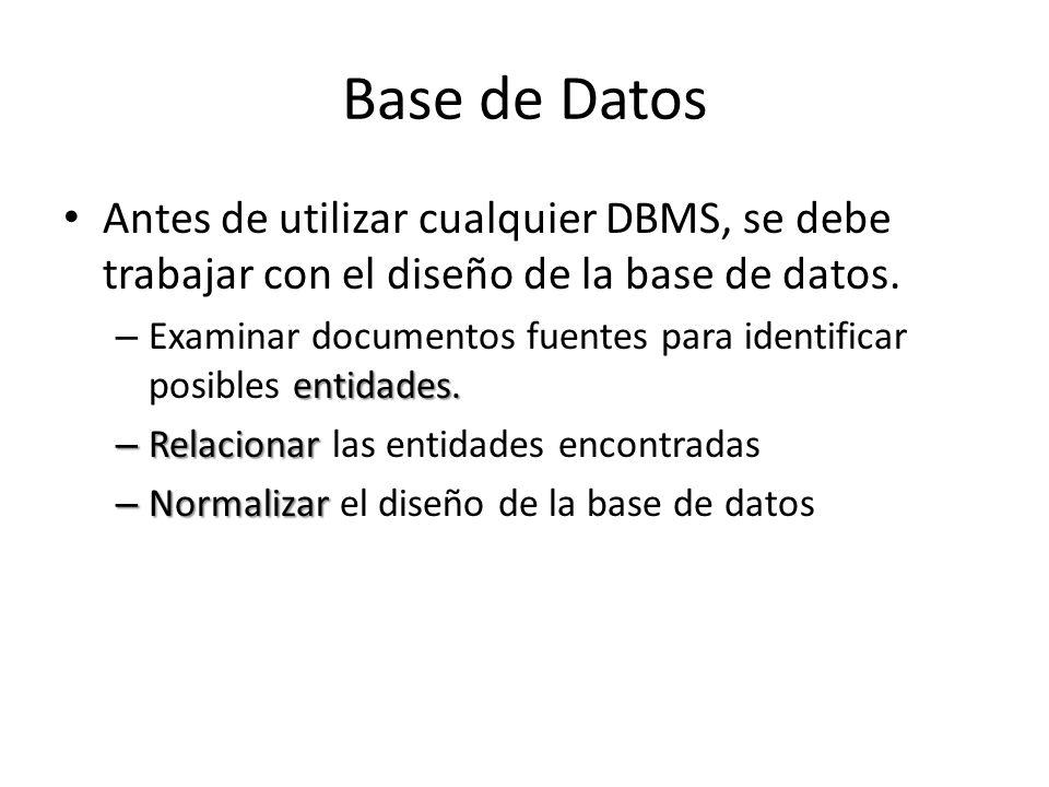 Base de Datos Antes de utilizar cualquier DBMS, se debe trabajar con el diseño de la base de datos. entidades. – Examinar documentos fuentes para iden