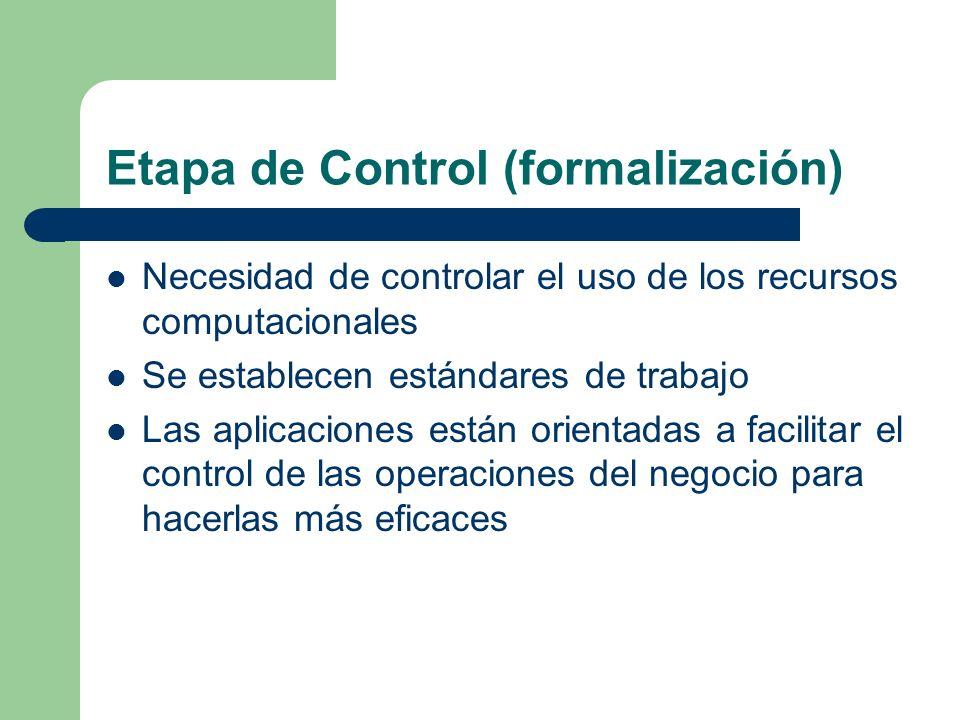 Etapa de Control (formalización) Necesidad de controlar el uso de los recursos computacionales Se establecen estándares de trabajo Las aplicaciones es