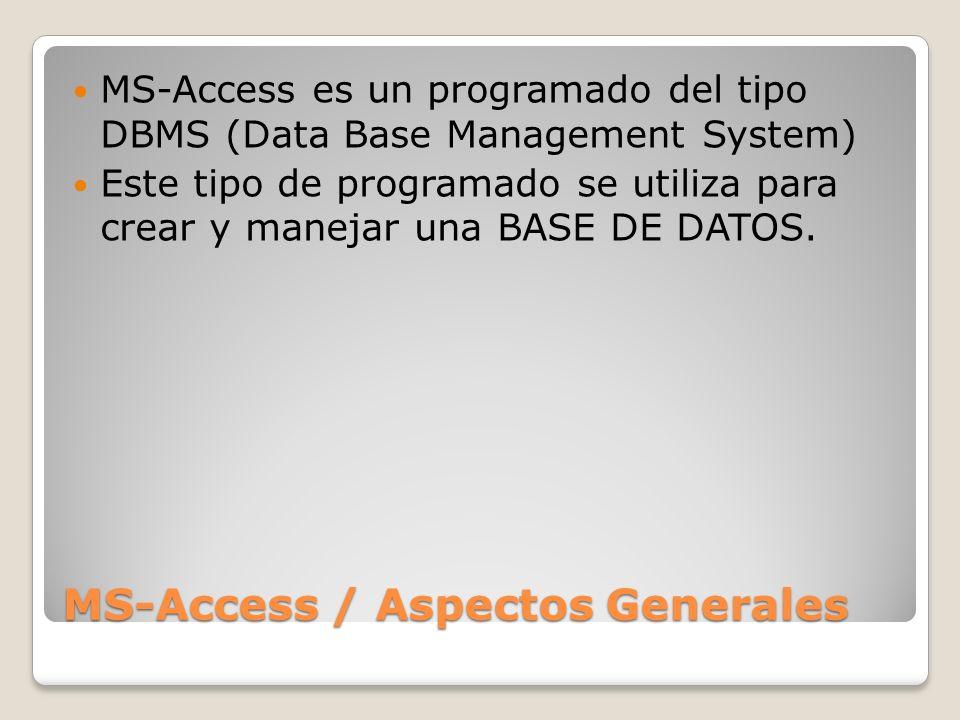 MS-Access / Aspectos Generales MS-Access es un programado del tipo DBMS (Data Base Management System) Este tipo de programado se utiliza para crear y