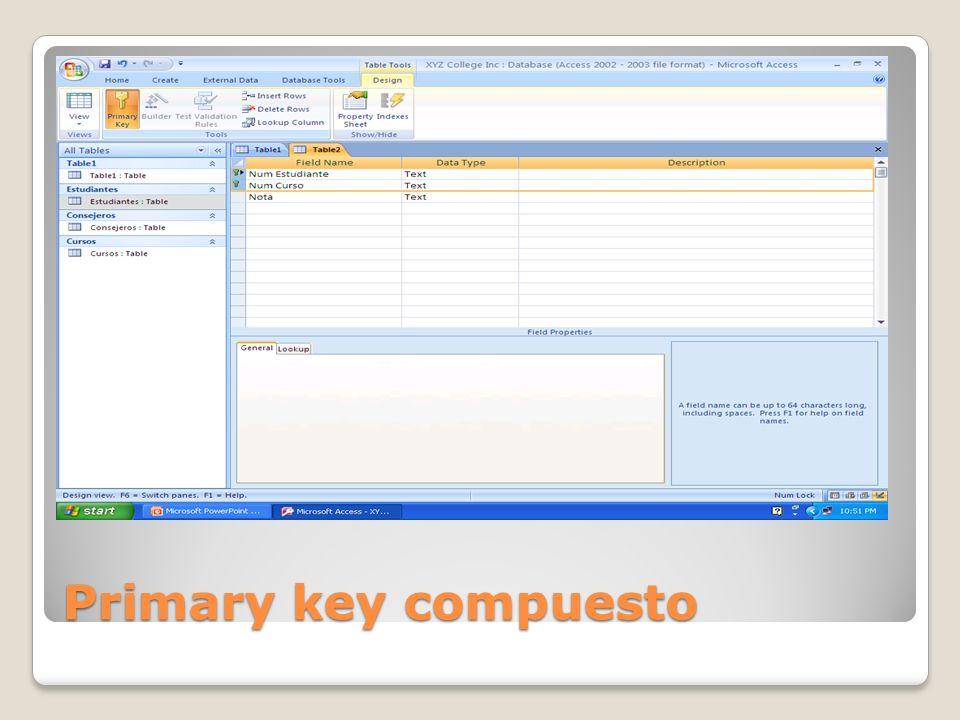 Primary key compuesto