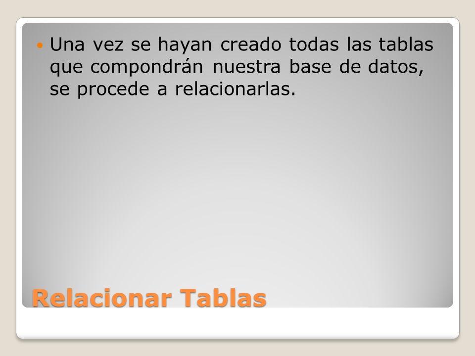 Relacionar Tablas Una vez se hayan creado todas las tablas que compondrán nuestra base de datos, se procede a relacionarlas.