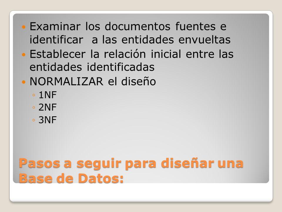 Pasos a seguir para diseñar una Base de Datos: Examinar los documentos fuentes e identificar a las entidades envueltas Establecer la relación inicial