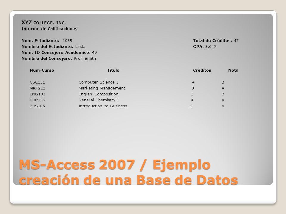 MS-Access 2007 / Ejemplo creación de una Base de Datos XYZ COLLEGE, INC. Informe de Calificaciones Num. Estudiante: 1035Total de Créditos: 47 Nombre d
