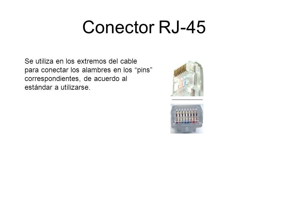 Conector RJ-45 Se utiliza en los extremos del cable para conectar los alambres en los pins correspondientes, de acuerdo al estándar a utilizarse.