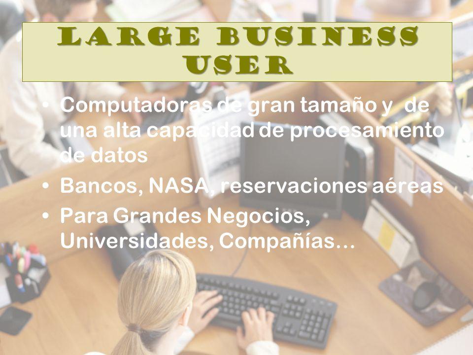 Large Business User Computadoras de gran tamaño y de una alta capacidad de procesamiento de datos Bancos, NASA, reservaciones aéreas Para Grandes Negocios, Universidades, Compañías…