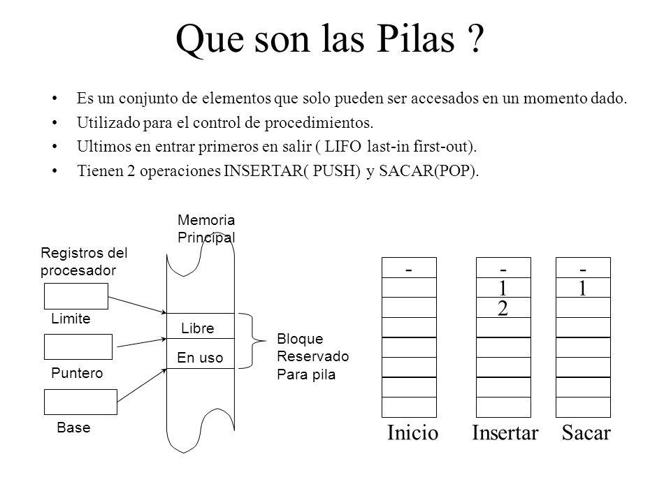 Que son las Pilas ? Es un conjunto de elementos que solo pueden ser accesados en un momento dado. Utilizado para el control de procedimientos. Ultimos