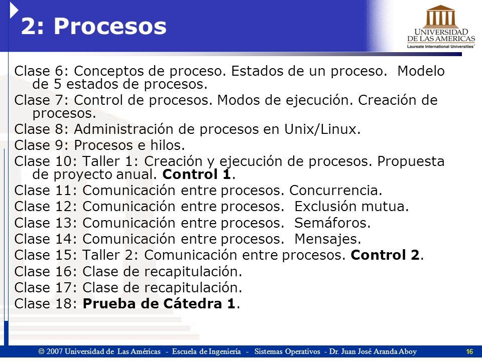 16 2007 Universidad de Las Américas - Escuela de Ingeniería - Sistemas Operativos - Dr.