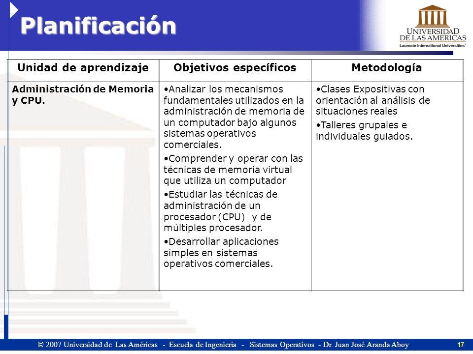 17 2007 Universidad de Las Américas - Escuela de Ingeniería - Sistemas Operativos - Dr.