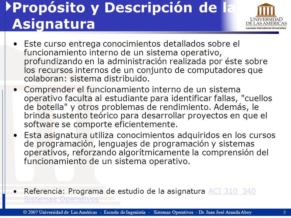 3 2007 Universidad de Las Américas - Escuela de Ingeniería - Sistemas Operativos - Dr.