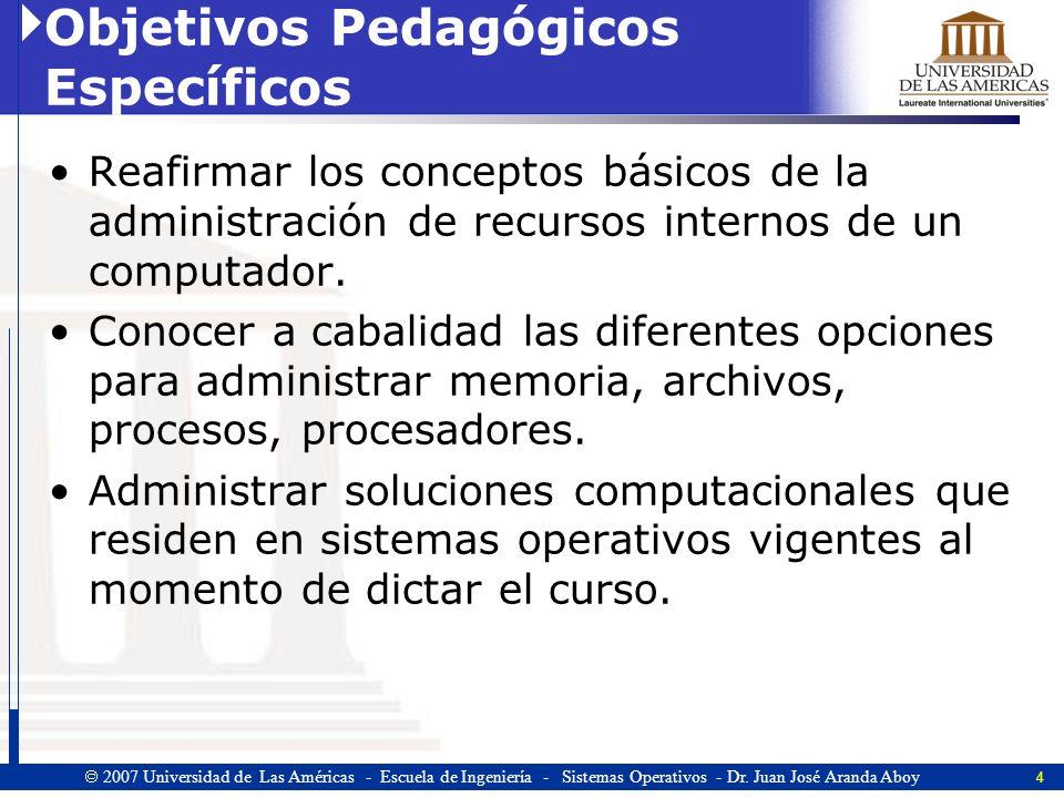 15 2007 Universidad de Las Américas - Escuela de Ingeniería - Sistemas Operativos - Dr.