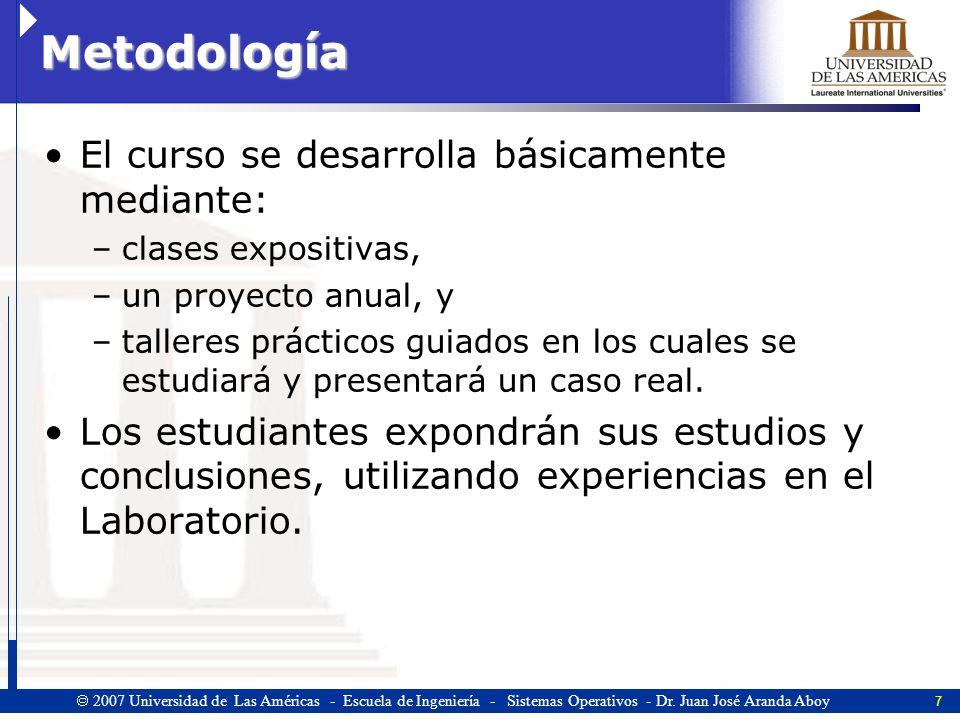 8 2007 Universidad de Las Américas - Escuela de Ingeniería - Sistemas Operativos - Dr.