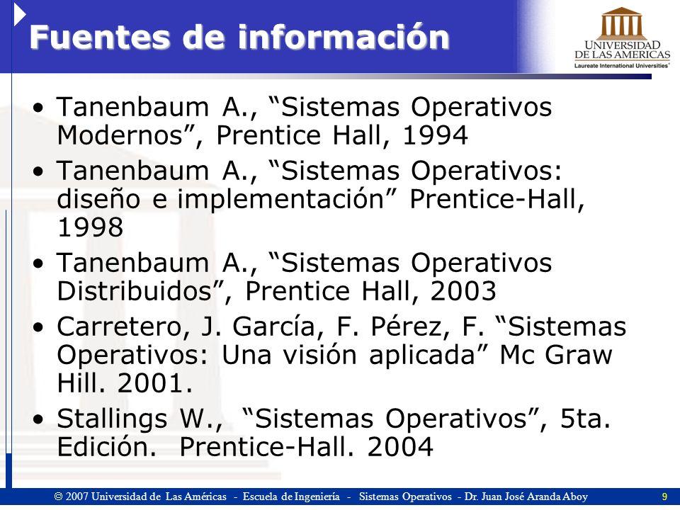 9 2007 Universidad de Las Américas - Escuela de Ingeniería - Sistemas Operativos - Dr.