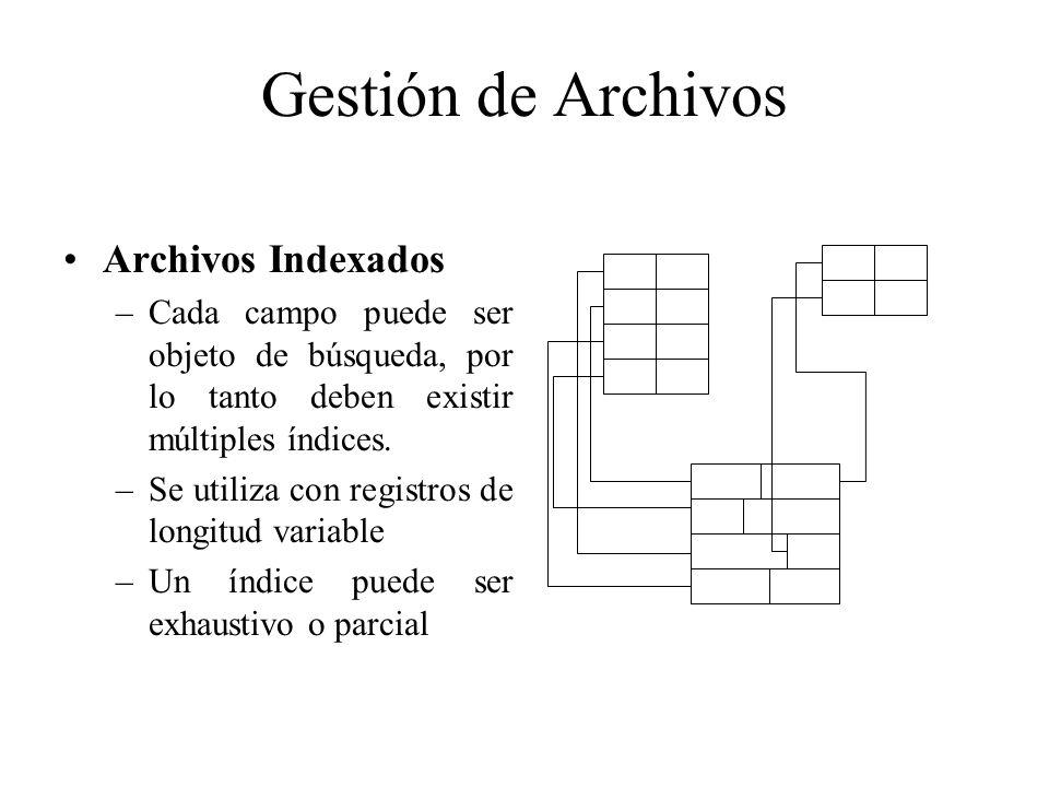 Gestión de Archivos Archivos Indexados –Cada campo puede ser objeto de búsqueda, por lo tanto deben existir múltiples índices. –Se utiliza con registr