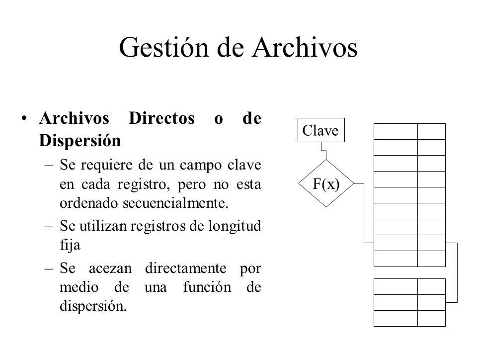 Gestión de Archivos Archivos Directos o de Dispersión –Se requiere de un campo clave en cada registro, pero no esta ordenado secuencialmente. –Se util
