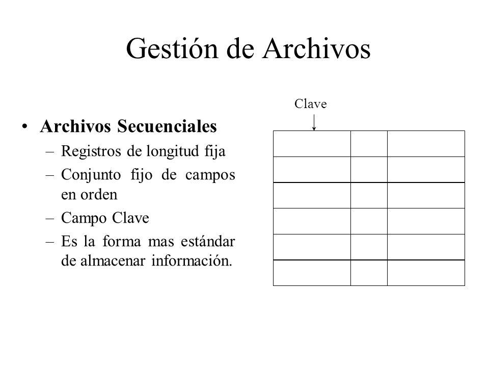 Gestión de Archivos Archivos Secuenciales –Registros de longitud fija –Conjunto fijo de campos en orden –Campo Clave –Es la forma mas estándar de alma