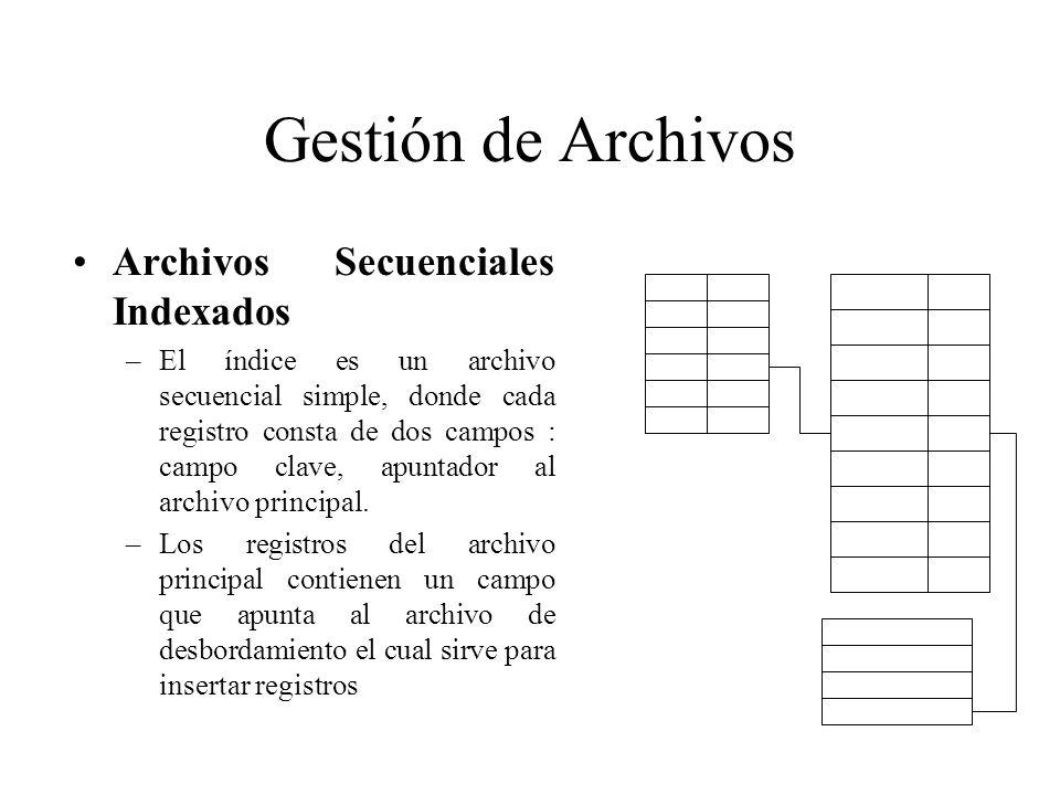 Gestión de Archivos Archivos Secuenciales Indexados –El índice es un archivo secuencial simple, donde cada registro consta de dos campos : campo clave