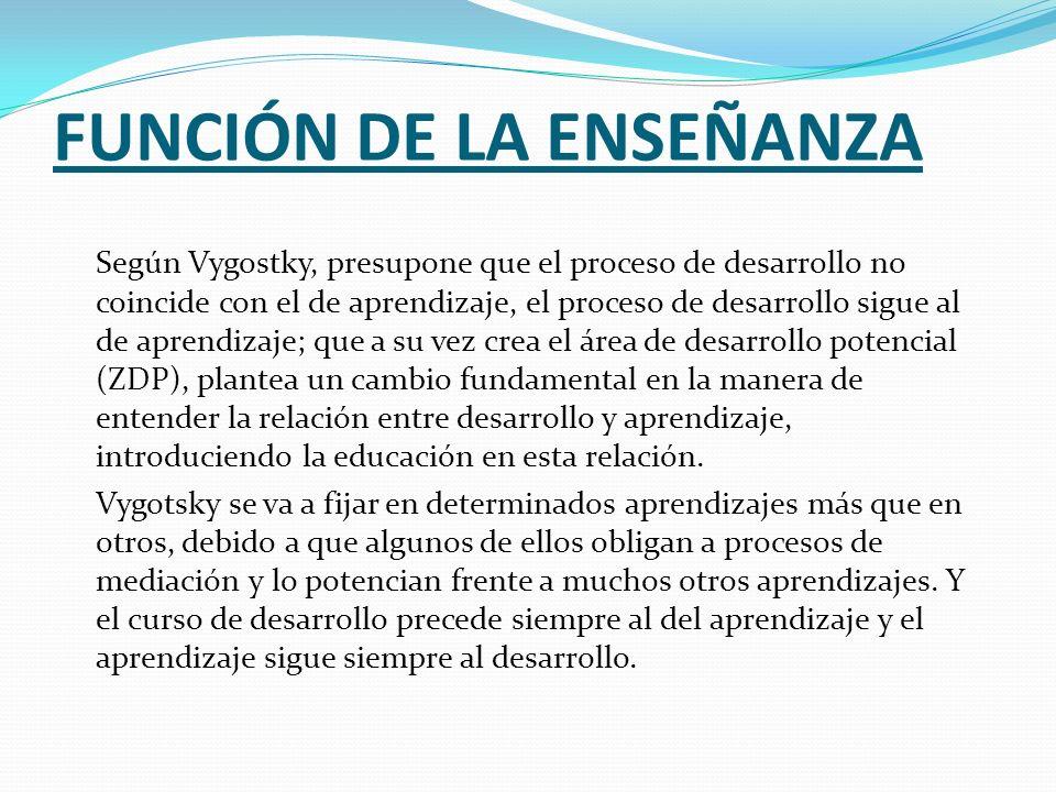 FUNCIÓN DE LA ENSEÑANZA Según Vygostky, presupone que el proceso de desarrollo no coincide con el de aprendizaje, el proceso de desarrollo sigue al de