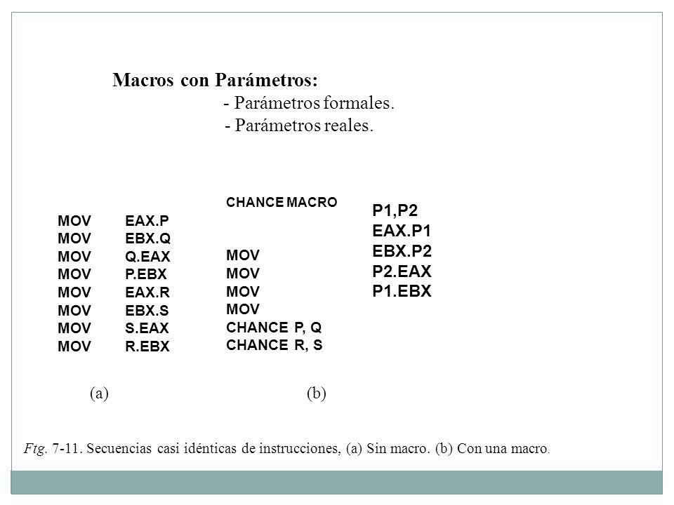 Macros con Parámetros: - Parámetros formales. - Parámetros reales. MOVEAX.P MOVEBX.Q MOVQ.EAX MOVP.EBX MOVEAX.R MOVEBX.S MOVS.EAX MOVR.EBX P1,P2 EAX.P