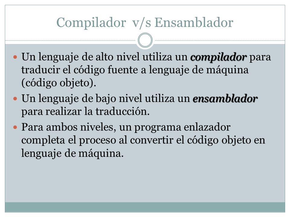 Compilador v/s Ensamblador compilador Un lenguaje de alto nivel utiliza un compilador para traducir el código fuente a lenguaje de máquina (código obj