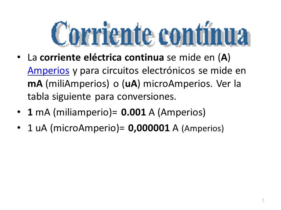 La corriente eléctrica continua se mide en (A) Amperios y para circuitos electrónicos se mide en mA (miliAmperios) o (uA) microAmperios. Ver la tabla