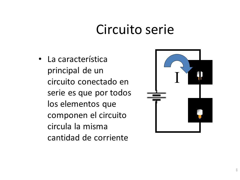 Circuito serie La característica principal de un circuito conectado en serie es que por todos los elementos que componen el circuito circula la misma