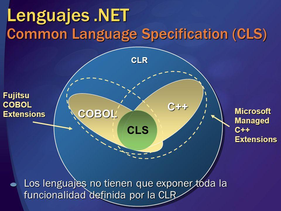 Lenguajes.NET Common Language Specification (CLS) COBOL C++ C++ CLR Microsoft Managed C++ Extensions Fujitsu COBOL Extensions CLS Los lenguajes no tie