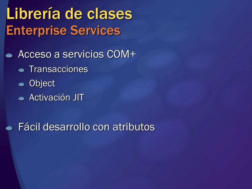 Librería de clases Enterprise Services Acceso a servicios COM+ TransaccionesObject Activación JIT Fácil desarrollo con atributos