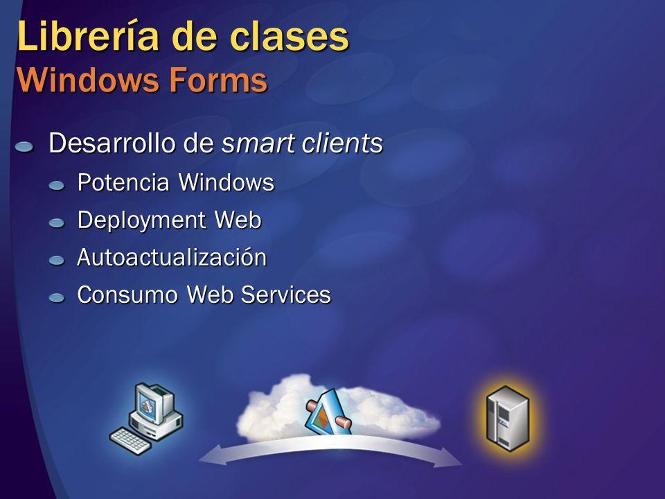 Librería de clases Windows Forms Desarrollo de smart clients Potencia Windows Deployment Web Autoactualización Consumo Web Services