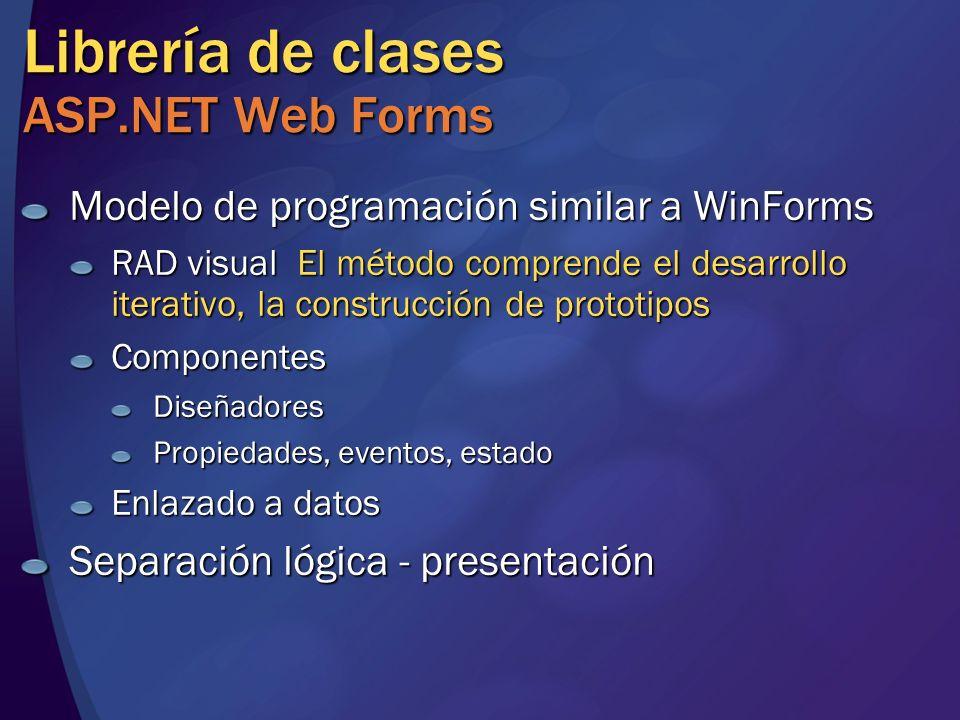 Librería de clases ASP.NET Web Forms Modelo de programación similar a WinForms RAD visual El método comprende el desarrollo iterativo, la construcción