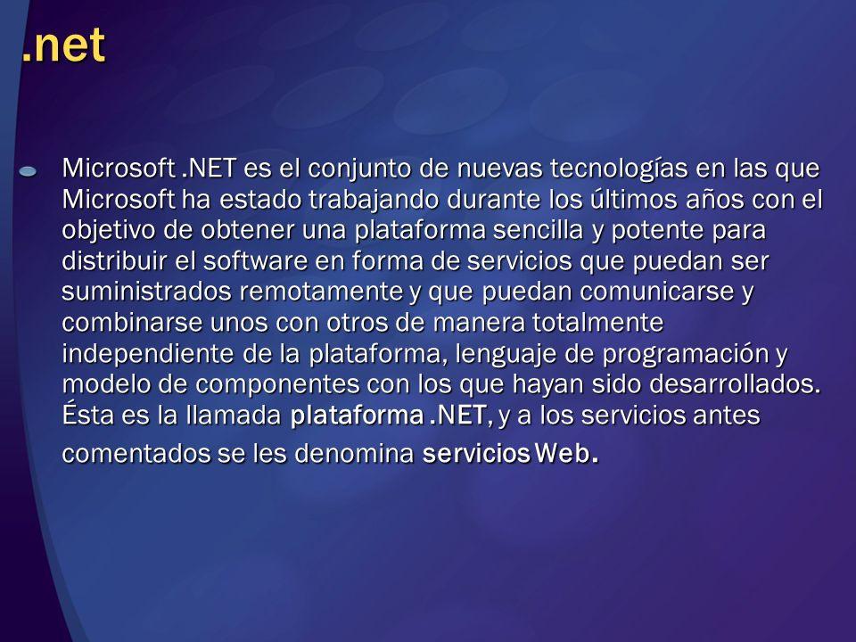 .net Microsoft.NET es el conjunto de nuevas tecnologías en las que Microsoft ha estado trabajando durante los últimos años con el objetivo de obtener