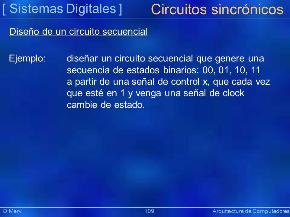 [ Sistemas Digitales ] Präsentat ion Circuitos sincrónicos D.Mery 109 Arquitectura de Computadores Diseño de un circuito secuencial Ejemplo:diseñar un