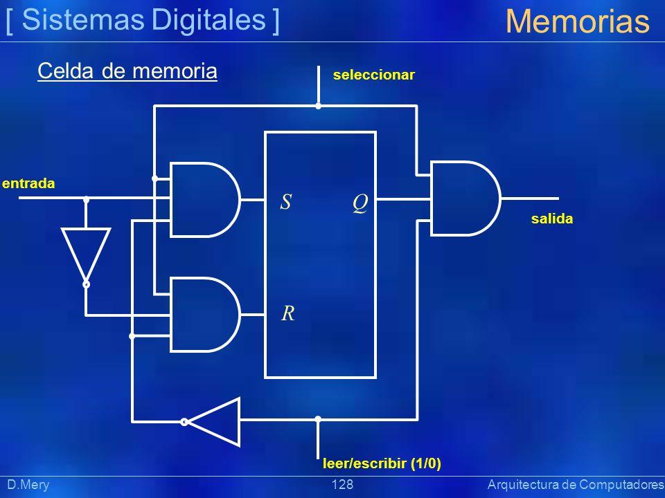 [ Sistemas Digitales ] Memorias D.Mery 128 Arquitectura de Computadores entrada salida leer/escribir (1/0) seleccionar S R Q Celda de memoria