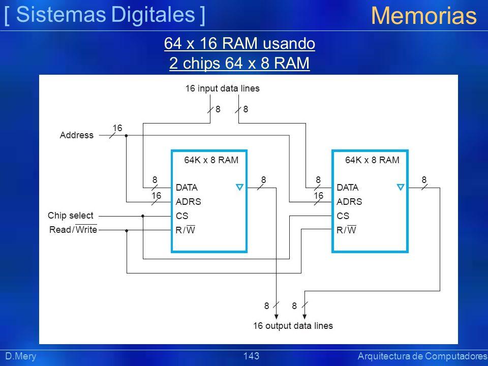 [ Sistemas Digitales ] Memorias D.Mery 143 Arquitectura de Computadores 64 x 16 RAM usando 2 chips 64 x 8 RAM