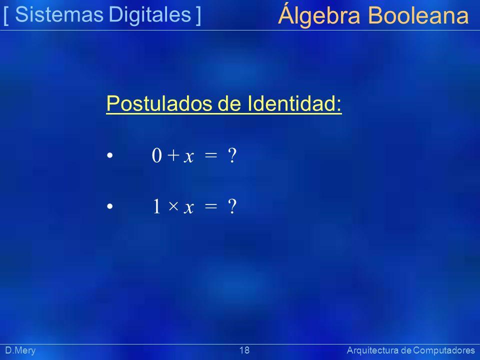 [ Sistemas Digitales ] Präsentat ion Álgebra Booleana D.Mery 18 Arquitectura de Computadores Postulados de Identidad: 0 + x = ? 1 × x = ?
