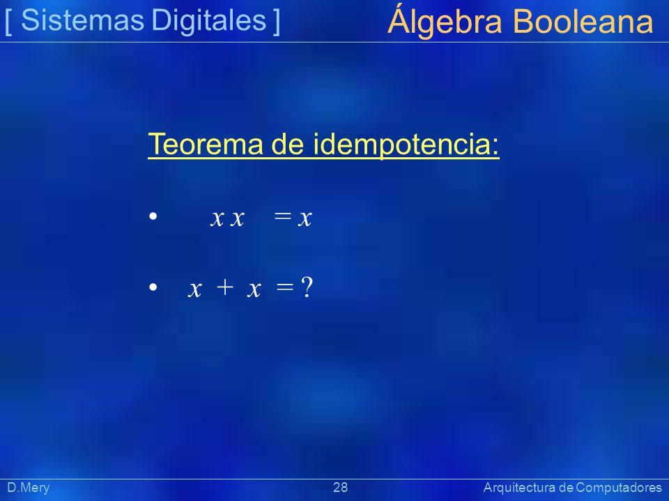 [ Sistemas Digitales ] Präsentat ion Álgebra Booleana D.Mery 28 Arquitectura de Computadores Teorema de idempotencia: x x = x x + x = ?