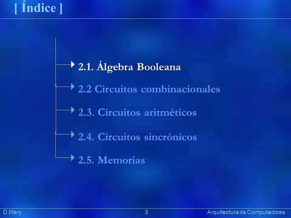 Präsentat ion D.Mery 3 Arquitectura de Computadores [ Índice ] 2.1. Álgebra Booleana 2.2 Circuitos combinacionales 2.3. Circuitos aritméticos 2.4. Cir